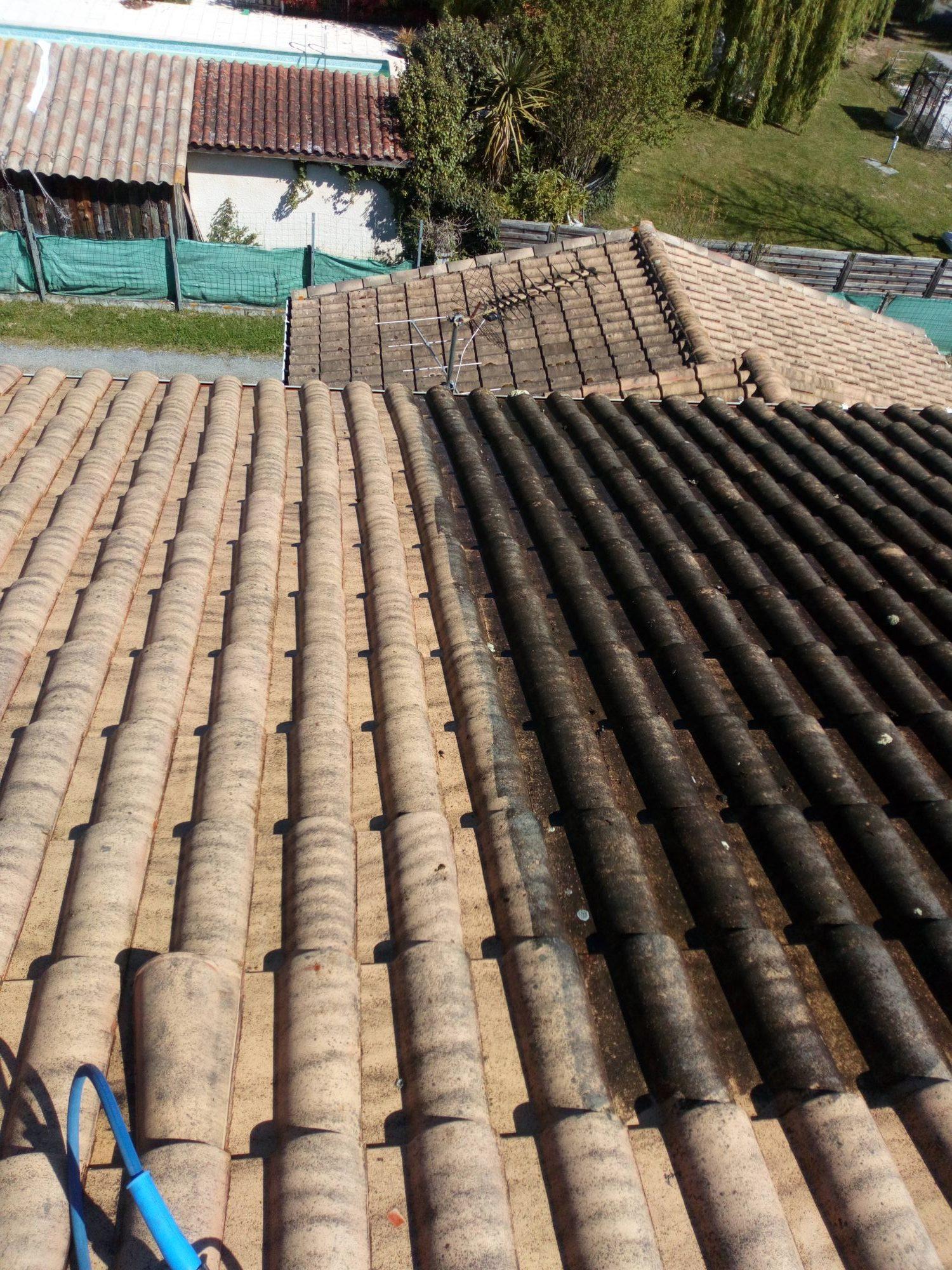 nettoyage des tuiles d'une toiture